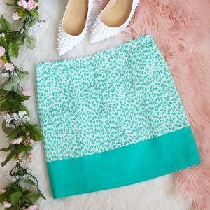 Michael Kors Teal Animal Print Mini Skirt